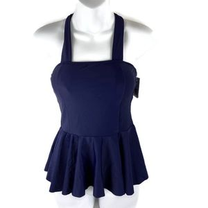Cupshe Small Navy Tankini Top